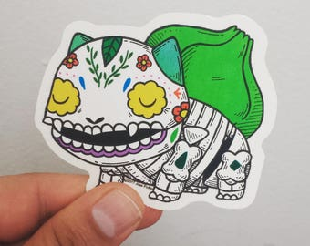 Bulbasaur Calavera Clear Die-cut Vinyl Sticker Day of the Dead