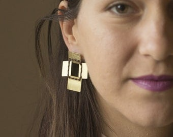 Tribal Gypsy Earrings, Handmade Post Earrings, Square Stitched Earrings, Artisan Modern Earrings, Golden Brass Earrings,