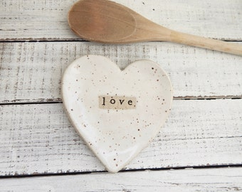 Made to Order- LOVE-  Ceramic Heart  - Dish - Spoon Rest - Soap dish - Jewelry Holder- White- Wedding favor- Valentine's Day Gift- Heart