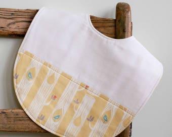 Yellow Toddler Bib; Modern Woodland Feeding Bib; Organic Cotton Highchair Bib; Handmade Toddler Bib Gift; Baby Shower Gift; Tree Stripes Sun