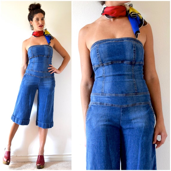 Vintage 90s Stretch Denim Strapless Jumpsuit with Wide Legged Culottes (size small, medium)