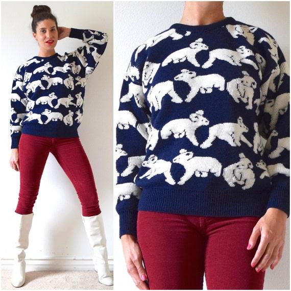 SUMMER SALE/ 30% off Vintage 60s 70s Down Under Australian Wool Navy Blue and White Novelty Knit Koala Bear Sweater