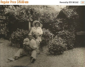 ON SALE 20% Vintage 1930 /30s French black & white original  man and women in garden with dogs
