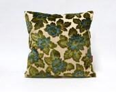 Velvet Pillow Cover 16x16, blue decorative cushion cover, decorative couch pillow, vintage upholstery fabric - Handmade by EllaOsix