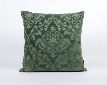Green Velvet Pillow Cover | Damask Cushion Cover | Decorative Couch Pillow | Accent Pillow | Throw Pillow Cover | Handmade by EllaOsix