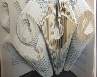 Folded Book Art: Love with Footprints! Beautiful gift for expecting parents, grandparents, Mothers Day!