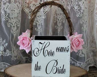 Flower Girl Basket, Here Comes The Bride Wedding Decor, Rustic Wedding, Shabby Chic Wedding Basket, White-Barn-Paper Flowers