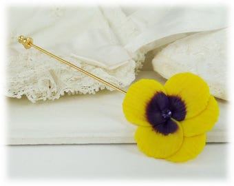 Pansy Brooch or Stick Pin - Pansy Jewelry