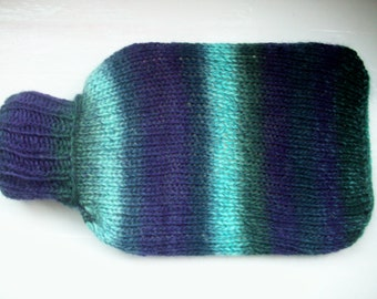 Hot water bottle and hand knitted cozy, hottie cover, large, wool, soft warm, blue purple grey multi