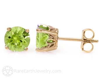 Peridot Earrings 14K Gold Peridot Stud Earrings August Birthstone Green Post Earrings