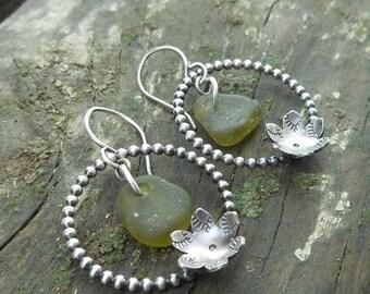 Mossy Green Sea Glass Flower Hoop Earrings