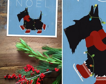 Skating Scottie scottish terrier christmas holiday dog art illustration graphic art giclee signed artists print by Stephen Fowler