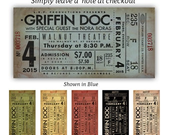 Personalized concert ticket artwork custom art print UNFRAMED by Stephen Fowler