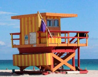 Art Deco 3rd Street Lifeguard Station of Miami Beach - South Beach Architecture - Original Colour Photograph by Suzanne MacCrone Rogers