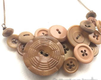 Nude Neutral Tan Button Necklace Repurposed Jewelry