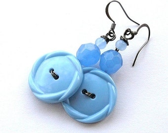 On Sale Light Blue Sky Hexagon Shape Vintage Button Earrings -Funky