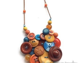 Button Jewelry Necklace with Blue, Burnt Orange, and Mustard Colors