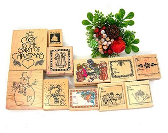 Christmas Rubber Stamps Lot of 11, Stampin Up Mounted on Wood, Crafting, Scrapbooking, Gift Cards, Snowman, To and From, Pre-owned Used