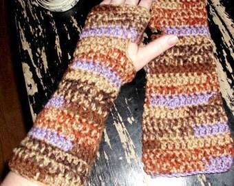 crochet fashion fingerless arm warmers earth tone gloves handmade