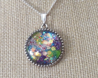 Glass MOON GLOW Pendant Necklace Ln594, Cabochon, dichroic style, Mystic jewelry, Galaxy Glitter sparkle, unisex jewelry,  by Lynn