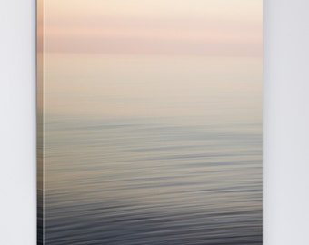 Canvas Art - Pink Abstract Beach Art - Modern Minimalist Photography - Landscape Photography - Lake Erie Seascape - Large Living Room Art