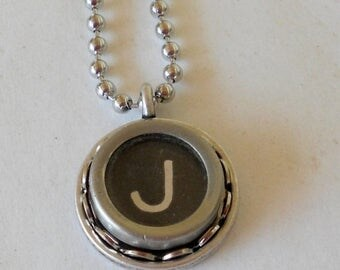 SALE Typewriter Key Necklace,  Vintage, Initial Jewelry,  All Letters Available, Typography Jewelry
