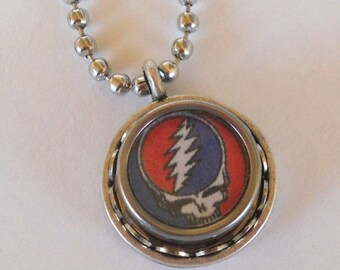 SALE Typewriter Key Necklace/Pendant - Grateful Dead, Steal Your Face