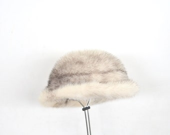 vintage black and white cross mink hat