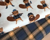 Burly Beavers Fabric Bundle of 2, Hipster fabric, Woodland Blanket fabric, Mammoth Flannel, Robert Kaufman- Choose the cuts