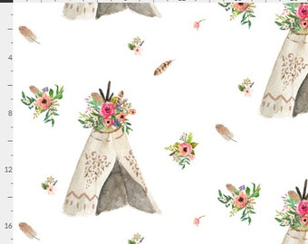 Floral Aztec Teepee Feathers Boho Pink Blush & Peach Baby Nursery Crib Bedding Set CHOOSE and CUSTOMIZE