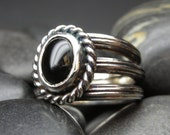 Reserved for Paige - Onyx ring in antiqued sterling silver