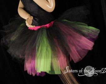 Ready to ship Tutu tulle skirt black purple neon XL Three Layer dance UV club wear pastel goth go go rave halloween goth rave SOTMD