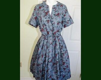 Vintage 1950's Blue Cotton Toile Rose Print Day Dress