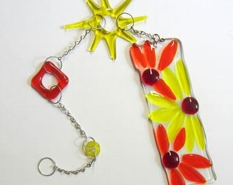 Dangling Bright Colored Flowers Suncatcher Fused Glass Art