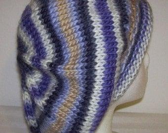 Rolled Brim Wool Tam - Slouchy Knit Beret - Knitted Dreadlock Tam - Rasta Tam - Glacier