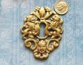 Escutcheon Keyhole Gravestone Cemetery Cherub Angel Coat of Arms Lion Antique French Medieval Brass Skeleton Key Furniture Hardware Plate