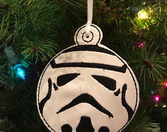 READY TO SHIP!  Storm Trooper Embroidered Christmas Ornament or Bag Tag