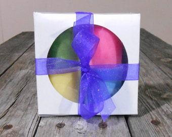 Gift Set Candles-Organic-Hemp Wick Soy Candles-Votives-Caramel Apple~Cotton Candy~Blue Raspberry~Banana