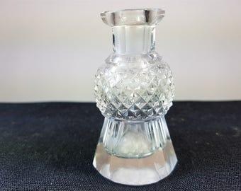 Vintage Cut Crystal Glass Scottish Thistle Perfume Scent Bottle 1920's - 1930's