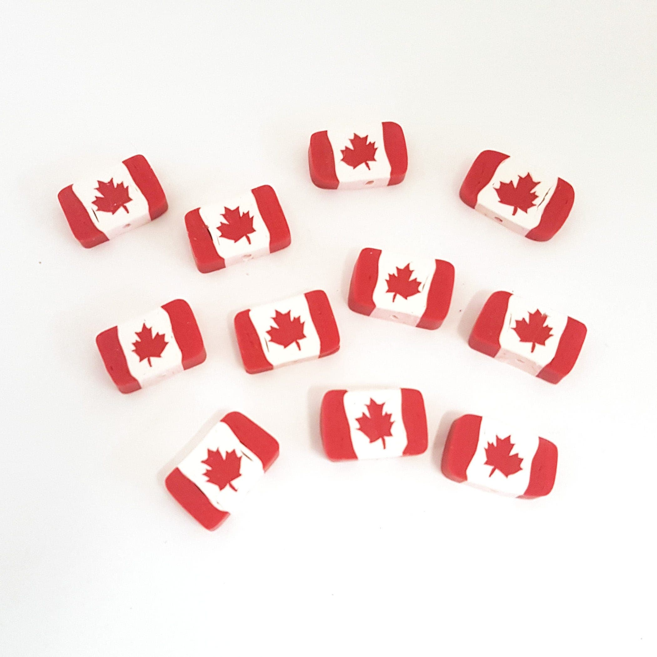 canada flag beads red maple leaf beads polymer clay beads