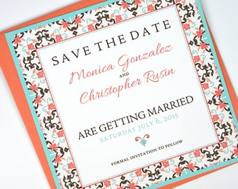 Mexican/Spanish Coral/Sea Green Tile Beach Destination Wedding Save the Date