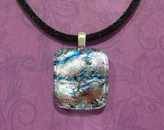Silver Blue Dichroic Necklace, Fused Glass Pendant, Sparkly Silver/Blue Dichroic Jewelry, Gifts Under 20, Ready to Ship - Snookie -7