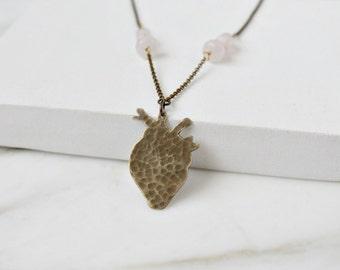 Anatomical heart necklace, brass & rose quartz gemstones, heart jewelry, anatomy jewelry