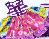 Rapunzel Disney Princess dress Pink Momi boutique girls birthday vacation dress