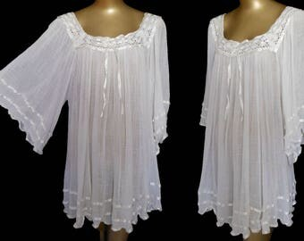 Vintage 70s Mexican Top, 1970s White Cheesecloth Cotton Gauze, Crocheted Lace and Satin Boho Hippie Blouse Shirt, Size L to XL