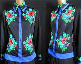 Vintage 70s Mr. Dino Blouse Shirt, 1970s Abstract Floral Signature Print Button Front Top, Nylon Jersey, Size M Medium