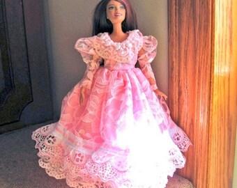 ON SALE Barbie Clothes Pink Lace Dress