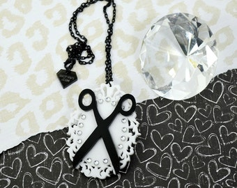 SCISSOR HAPPY -  Laser Cut Acrylic Scissors in Black on White Frame and Crystals Necklace