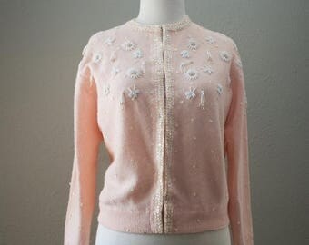 SPRING SALE Light pink peach 1950s 1960s floral beaded lambswool and angora sweater