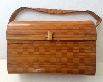 Vintage 60's Wooden Purse, Slatted Bamboo Purse with Handle, Vintage Fabric Lining